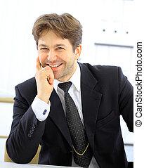 portrait, sourire, homme affaires