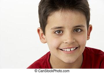 portrait, sourire, jeune garçon