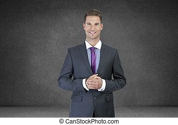 portrait, sourire, jeune, homme affaires