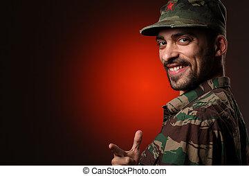 portrait, sourire, soldat