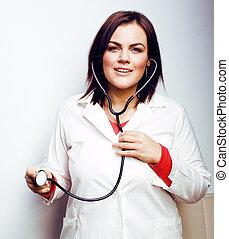 portrait, sourire, stéthoscope, jeune docteur