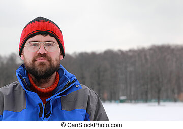 portrait, spectacled, hiver, homme