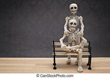 portrait, squelettes, deux
