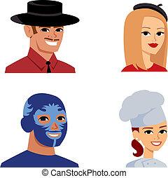 portrait, stéréotype, avatar, série