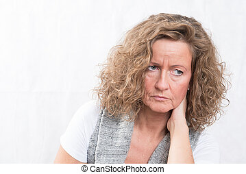 Portrait strong, disappointed woman