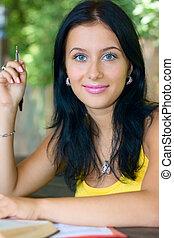 Portrait student girl outdoor