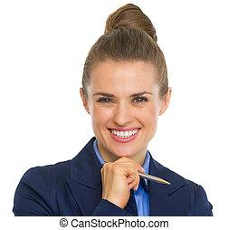 portrait, stylo, femme souriant, business