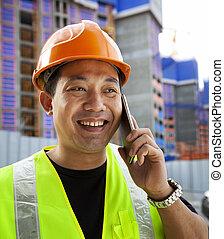 portrait, téléphone, constructeur, conversation