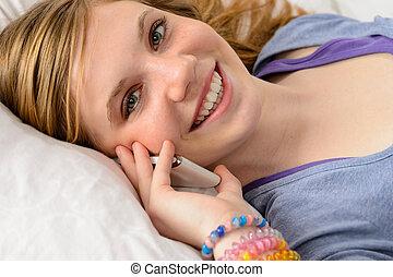 portrait, téléphone, girl, adolescent, conversation