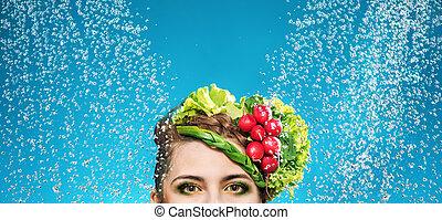 portrait, tête, dame, légumes