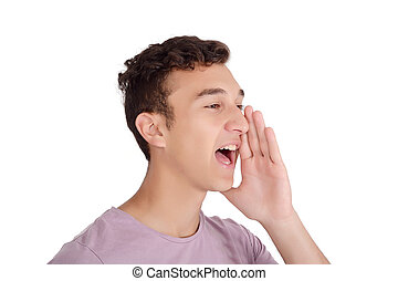 Portrait teen boy screaming with wide open mouth. Isolated...