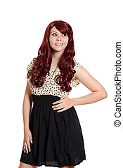 portrait teen girl burgundy hair