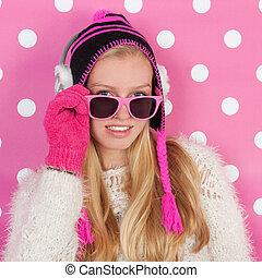 Portrait teen girl in winter