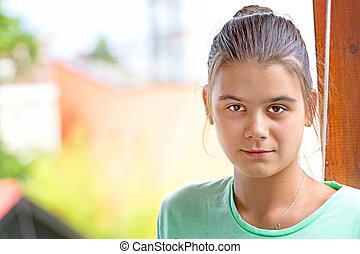 Portrait teen girl on nature