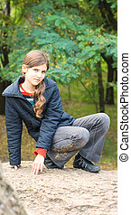 Portrait teen girl outdoor