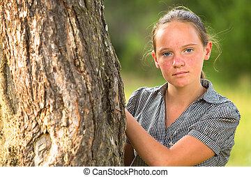 portrait, teen-girl, parc, jeune, joli