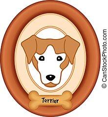 portrait, terrier, os chien, cadre