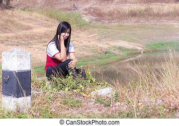 Portrait thai woman with reservoir