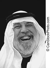 Portrait - The Shiek Laughs - The Sheik is laughing, black...