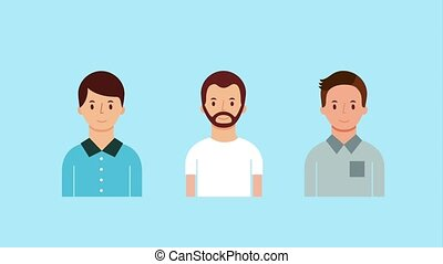 portrait three men characters animation hd