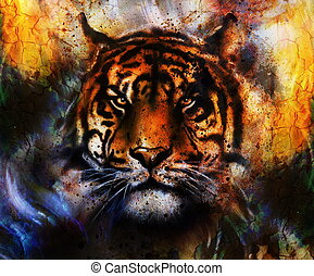 portrait Tiger face, profile portrait, on colorful abstract  background. Abstract color collage with spots.