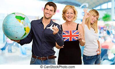 portrait, touriste, famille, heureux