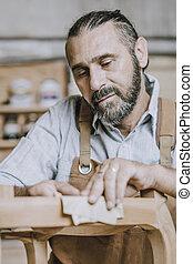 portrait, travail, charpentier, caucasien