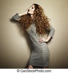 portrait, tricoté, robe, femme, beau