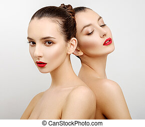 Portrait two beautiful sexy young women