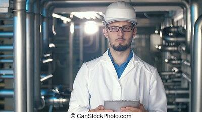 portrait, usine, ingénieur