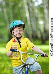 portrait, vélo, mignon, gosse