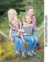 portrait, vacances, jeune, camping, enfants