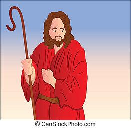portrait, vecteur, christ, jésus