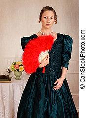 portrait victorian woman with fan