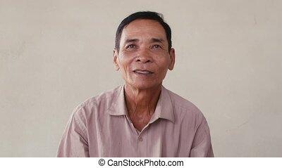 portrait, vieux, asiatique, émotions, homme