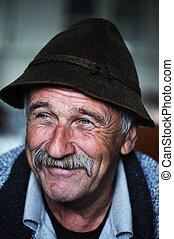 portrait, vieux, moustache, homme