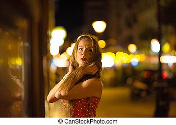portrait, ville, femme, mûrir, nuit