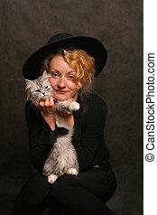 Portrait with a cat