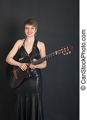 portrait with an electric guitar