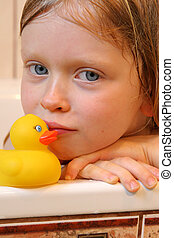 Portrait with duck - Little girl in the bathroom