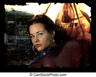 Portrait with train