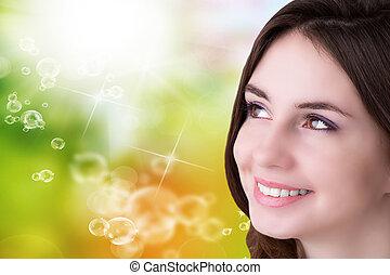 portrait, woman., beauté