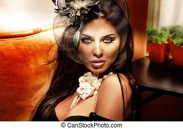 portrait, woman., brunette, retro, mode