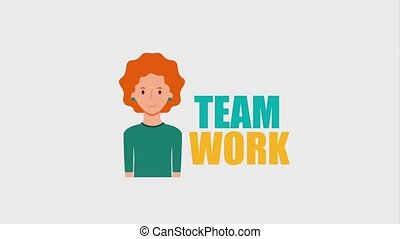 portrait woman character team work words animation hd
