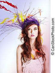 portrait, woman., coloré, beauté