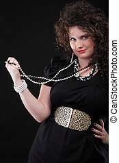 Portrait woman curly girl