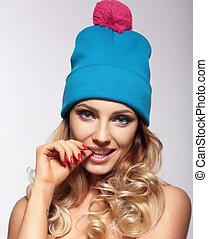 Portrait woman in  hat.