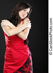 Portrait woman in red corset