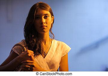 portrait, woman., jeune, contraste, hight