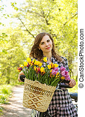Portrait woman with basket
